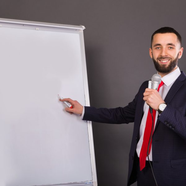 Business coach holds training