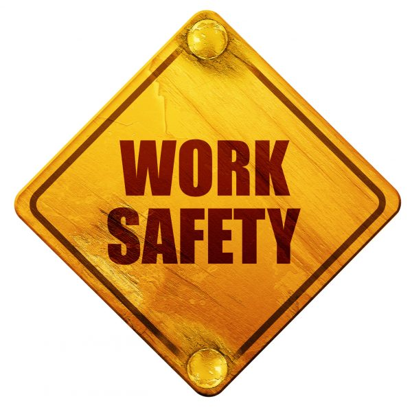 work safety, 3D rendering, yellow road sign on a white background