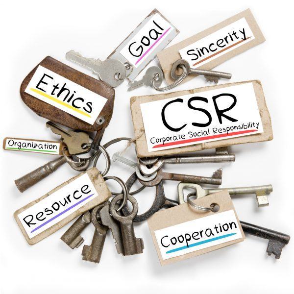 Photo of key bunch and paper tags with CSR conceptual words