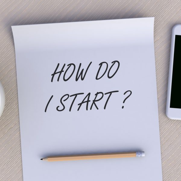 HOW DO I START, message on paper, smart phone and coffee on table, 3D rendering
