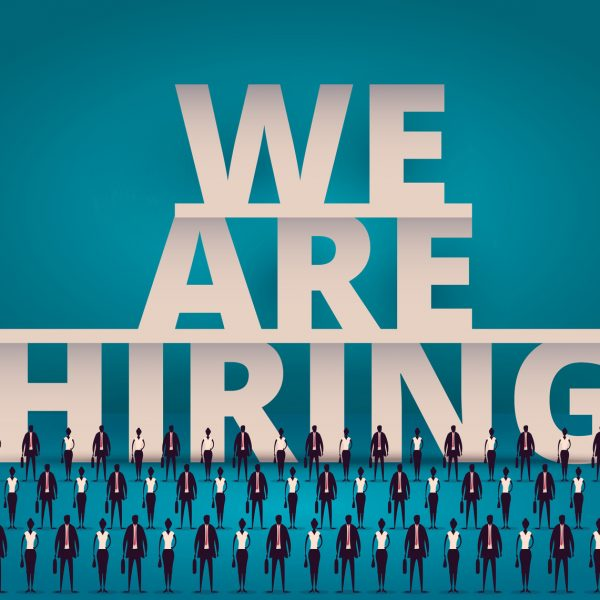 Business hiring concept. HR manager hiring employee or workers for job. Recruiting staff or personnel in corporate company.