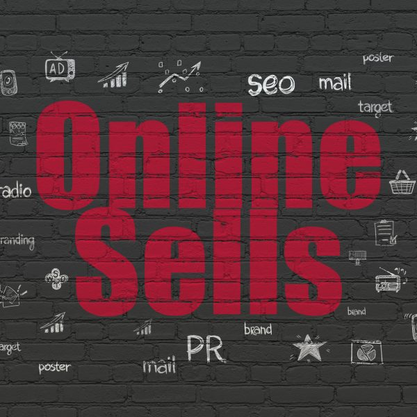Marketing concept: Painted red text Online Sells on Black Brick wall background with  Hand Drawn Marketing Icons