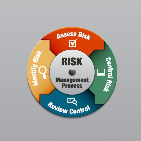 Risk management process diagram, vector illustration
