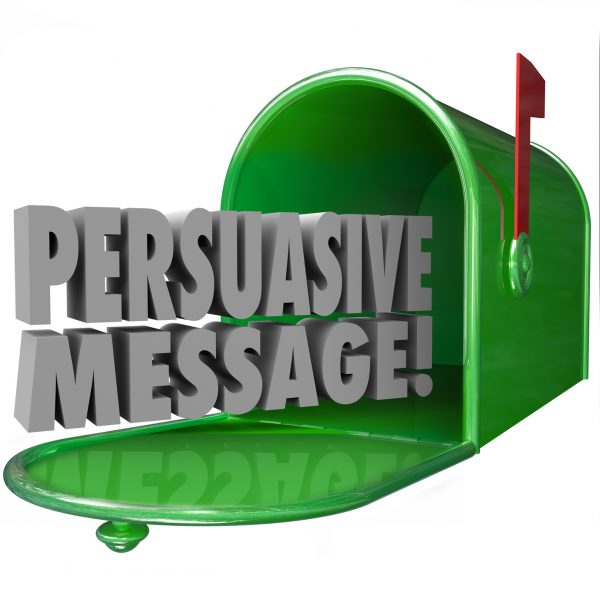 Persuasive Message words in a green metal mailbox to illustrate advertising or promotion that is convincing or influential in a decision