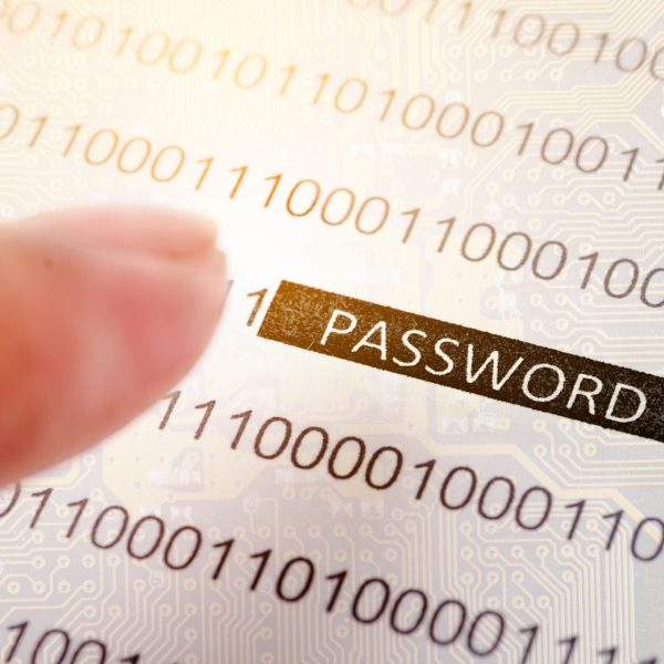 Computer security concept with binary code and password text, great for technology, online security and digital lifestyle themes.
