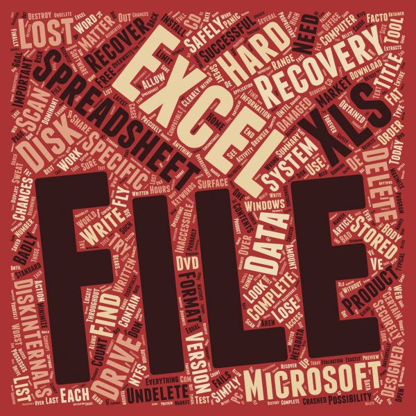 Recover Deleted Excel Spreadsheets text background wordcloud concept
