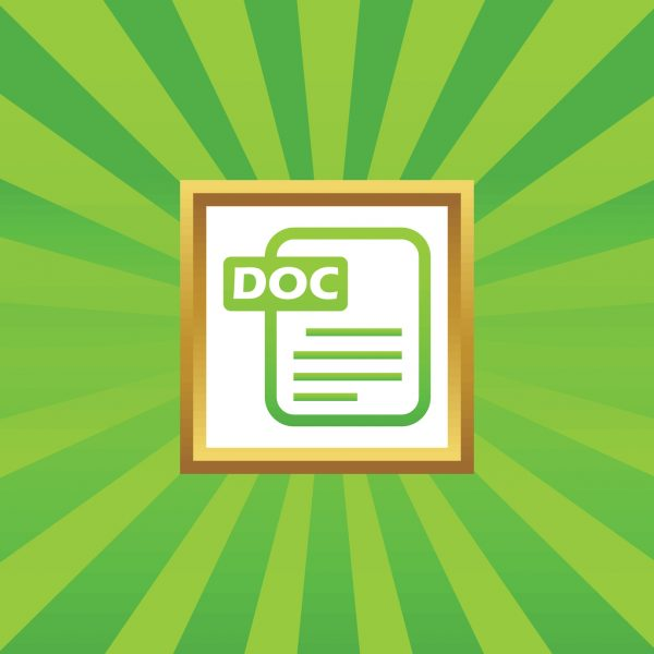 Image of document page with text DOC in golden frame, on green abstract background